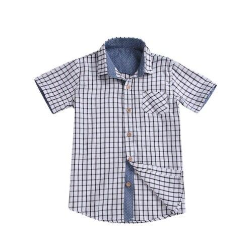 Jungen Kleidung Shirts Pflichtbewusst Casual Sommer Kleinkind Junge Shirts Kurzarm Taste Top Plaids Design Patchwork Kleidung Kinder Jungen Heißer Verkauf Rolli Modische Muster
