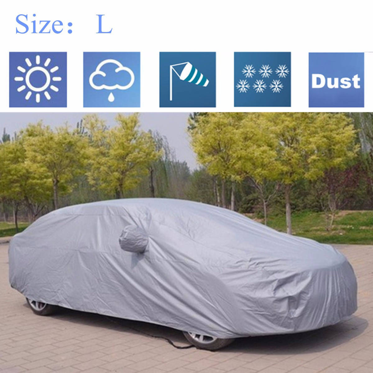 M/L/XL/XXL Universal Full Car Cover Anti Rain Snow Ice Waterproof Dustproof UV Outdoor