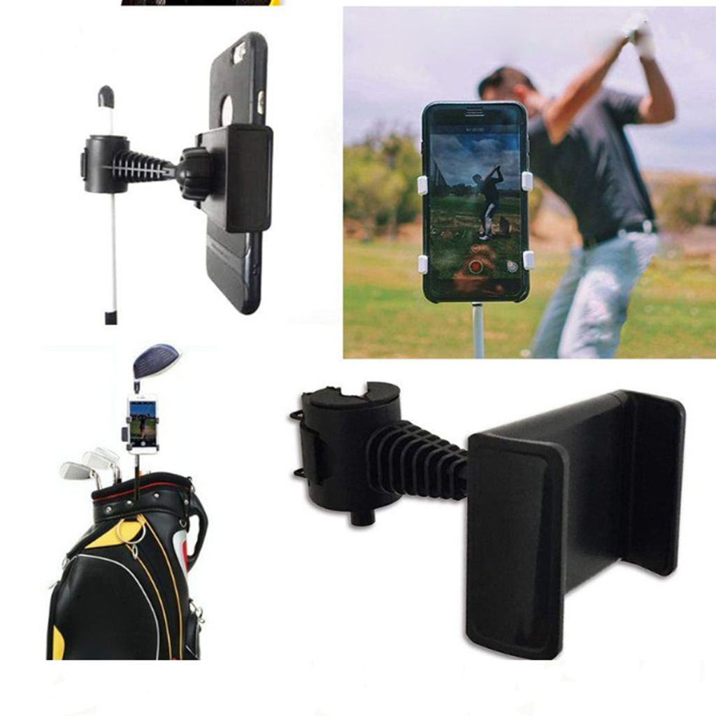 360 Degree Rotatable Golf Swing Recording Phone Holder Pull Cart Mount Clip For Smartphones