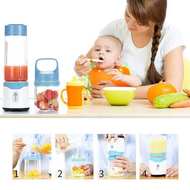 Portable Blender | Rechargeable Travel Juice Blender For Shakes And Smoothies + Powerful Six Blade Blender