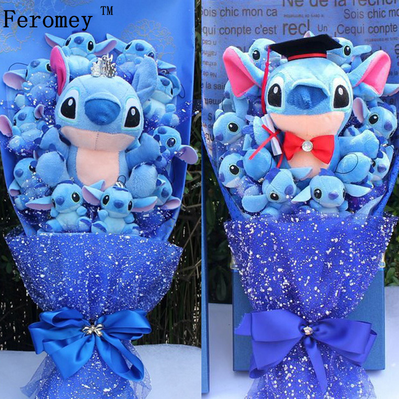 Drop Shipping Stitch Cartoon Flower Bouquet Plush Toy Kawaii Stitch Graduation Bouquets Plush Toy Valentine Birtdhay Gift No Box image