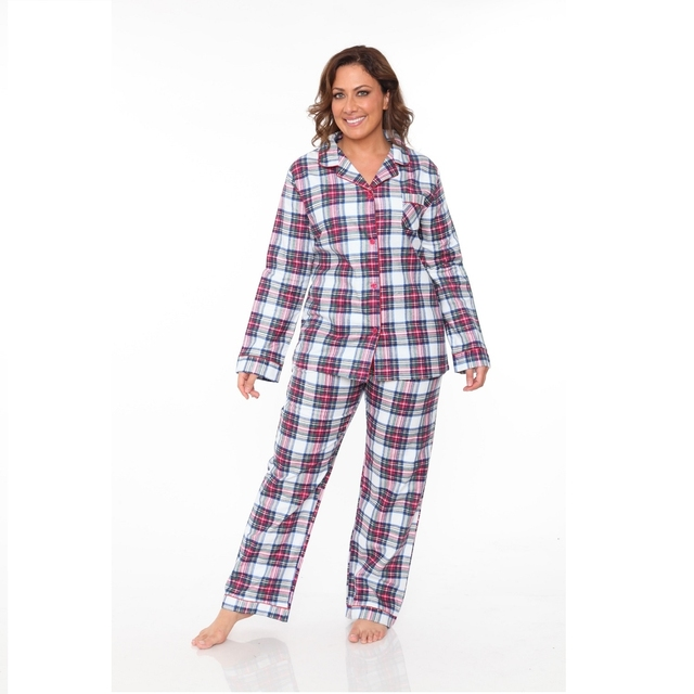 38db7ed500 Plus Size Flannel Pajama Set Red   White Plaid-in Pajama Sets from ...