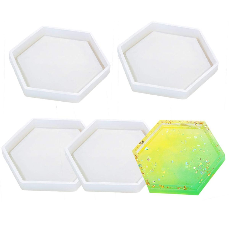 4 Pack Hexagon Silicone Coaster Molds Silicone Resin Mold, Clear Epoxy Molds For Casting With Resin, Concrete, Cement And Poly