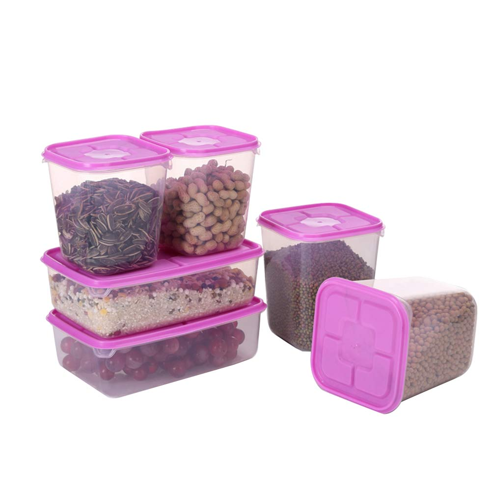 6PCS Convenient Nontoxic Durable Preservation Box Food Storage Containers Sealed Crisper Food Storage Box Family Supplies