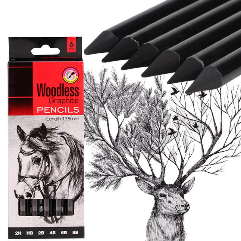 6-Pack Sketch Drawing Pencil Set Woodless Graphite Pencils 17.5cm 2H HB 2B 4B 6B 8B For Artists Painting Supplies