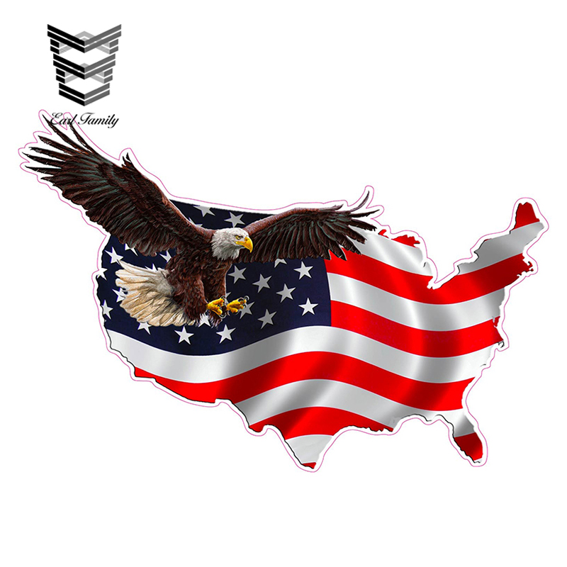 USA American Flag Eagle Decal Car Window Laptop Map Vinyl Sticker