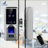 Cerradura de la puerta de la huella digital de acristalamiento de bloqueo inteligente remoto cerradura inteligente Oficina sola Puerta de vidrio doble fechadura digital