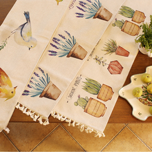 2 Layers Thick Table Cloth Green Plants Printed Table Runners Fashion Flamingos Dust-proof Table Cover Tea Table Cloth