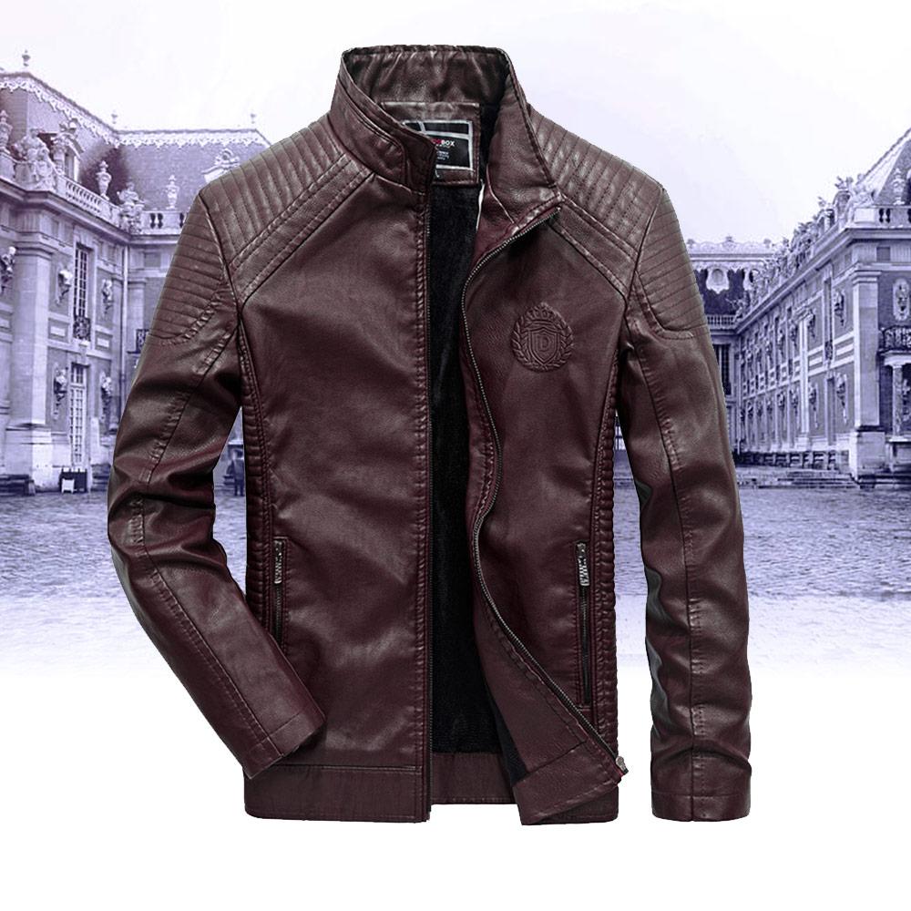 Veste de moto en cuir automne hiver manteaux épais hommes velours veste de moto Faux Biker vêtement d'extérieur pour homme chaud