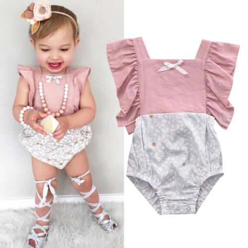 Newborn Infant Kids Baby Boy Girl Clothes Baby   Rompers   Pink Patchwork Print Jumpsuit Outfit Set