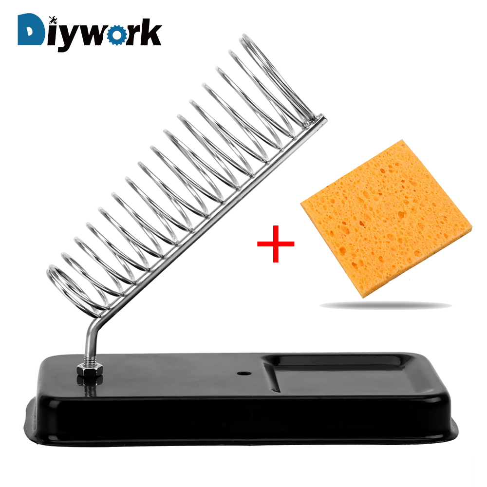 DIYWORK Electric Soldering Iron Stand Holder with Welding Cleaning Sponge Pads Generic High Temperature Resistance-in Electric Soldering Irons from Tools