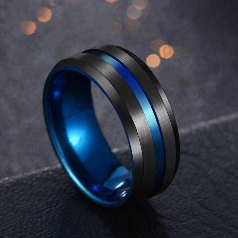 Anel de arco-íris de titânio, aço inoxidável, preto, joia 8mm de largura, para mulheres ou homens, casamento