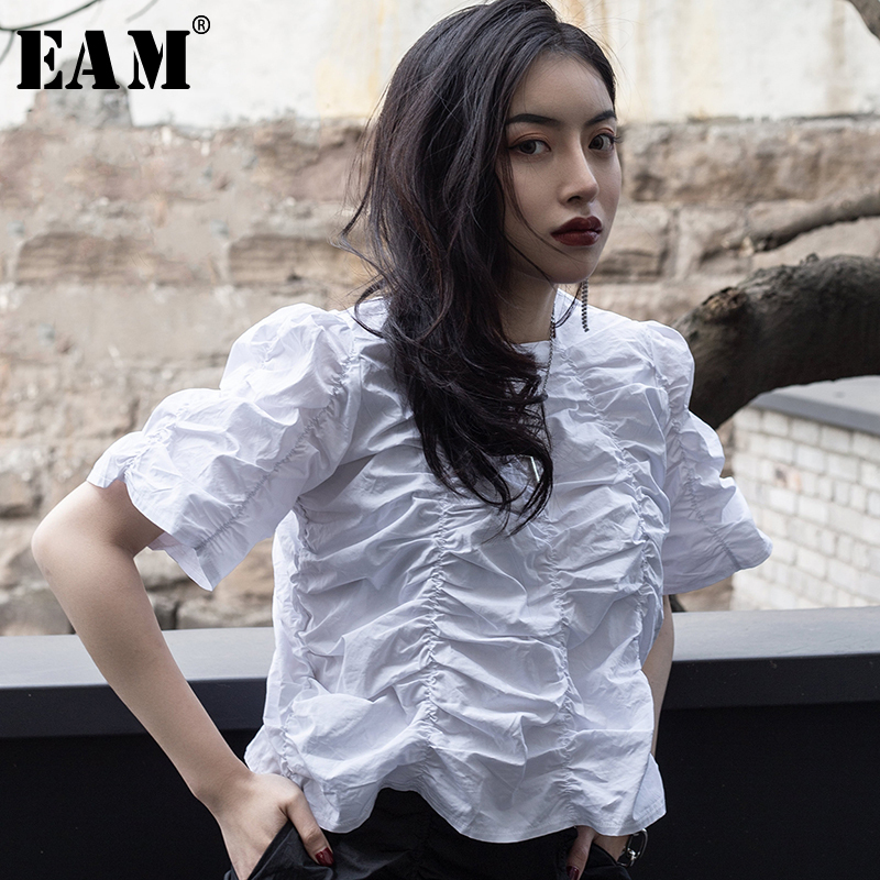 [EAM] 2020 New Spring Summer Round Neck Short Sleeve White Fold Pleaed Stitch Loose Temperament T-shirt Women Fashion Tide JT524