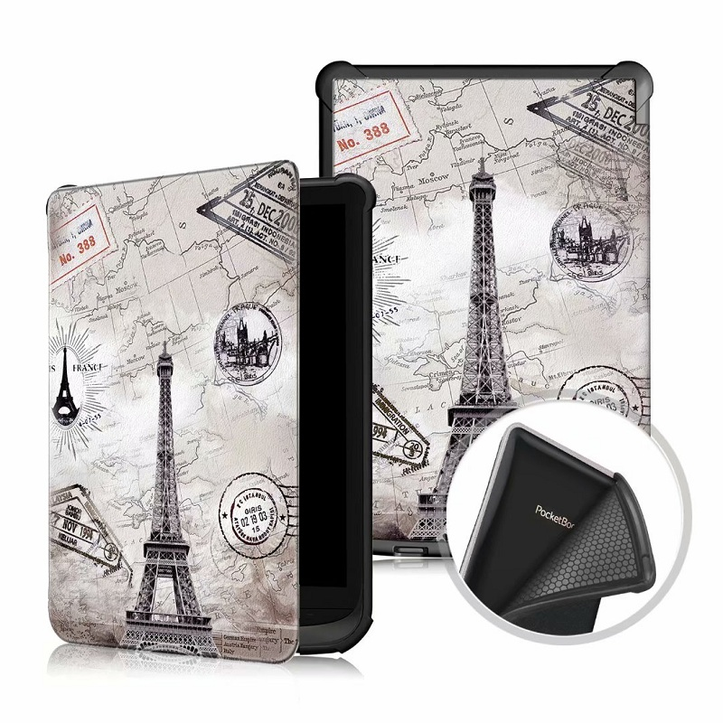 Couverture solide pour Pocketbook 616 627 632 Ultra mince Smart PU étui en cuir funda pour PocketBook Touch Lux 4/Basic Lux 2 étui