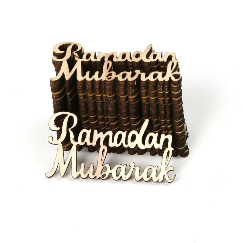15 PCS Wooden Eid Mubarak Letter Festival Decoration Muslim Islamic GiftS NEW