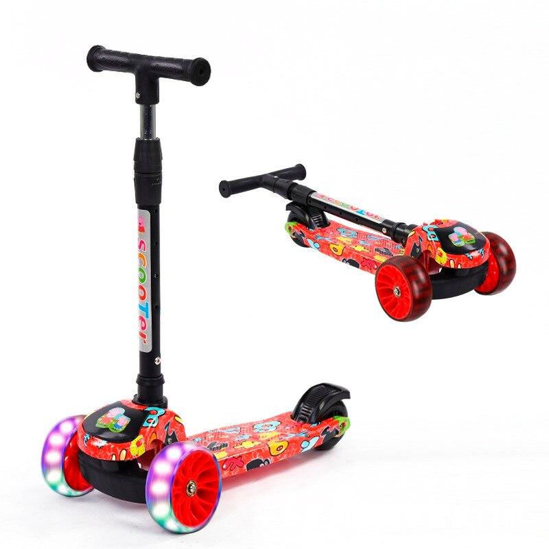 Enfants vélo Scooter enfant coup de pied clignotant lumière LED Up 3 roues pousser réglable pliant Graffiti/Camouflage imprimé voiture d'équilibre