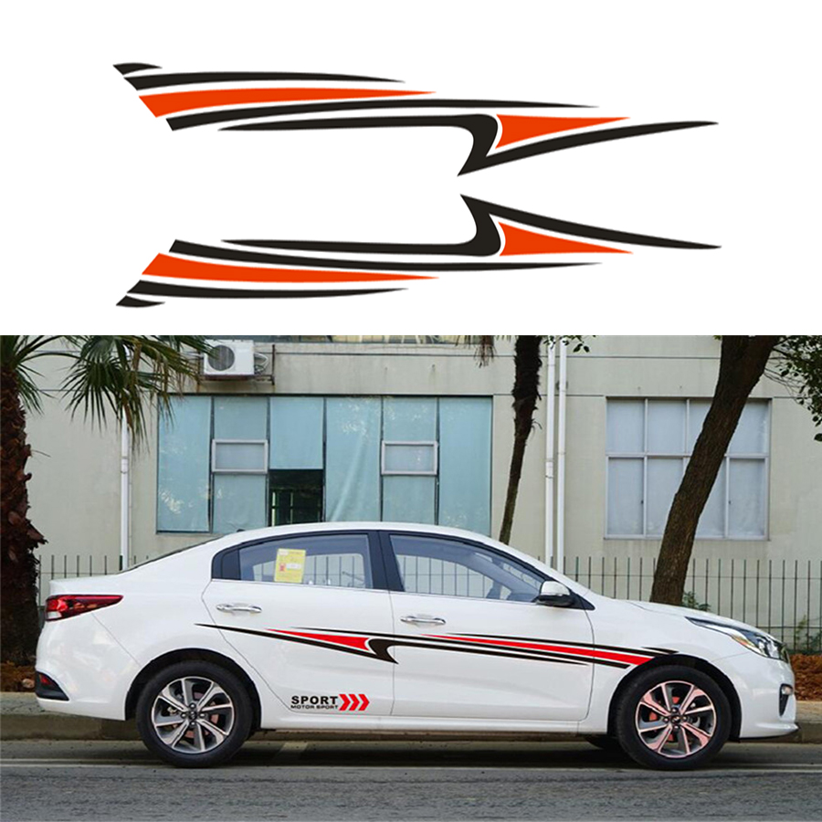 2Pcs Car SUV Vinyl Sticker Graphic Sport Stream line Car Body Side Decal Stripe DIY Decals Black Red Car decoration styling in Car Stickers from Automobiles Motorcycles