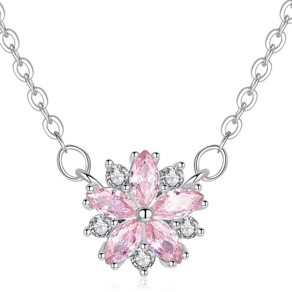 Женское медное ожерелье сакуры, розовое медное ожерелье сакуры с милым цветком, вечерние ювелирные изделия с кристаллами, Размер 11 мм * 11 мм