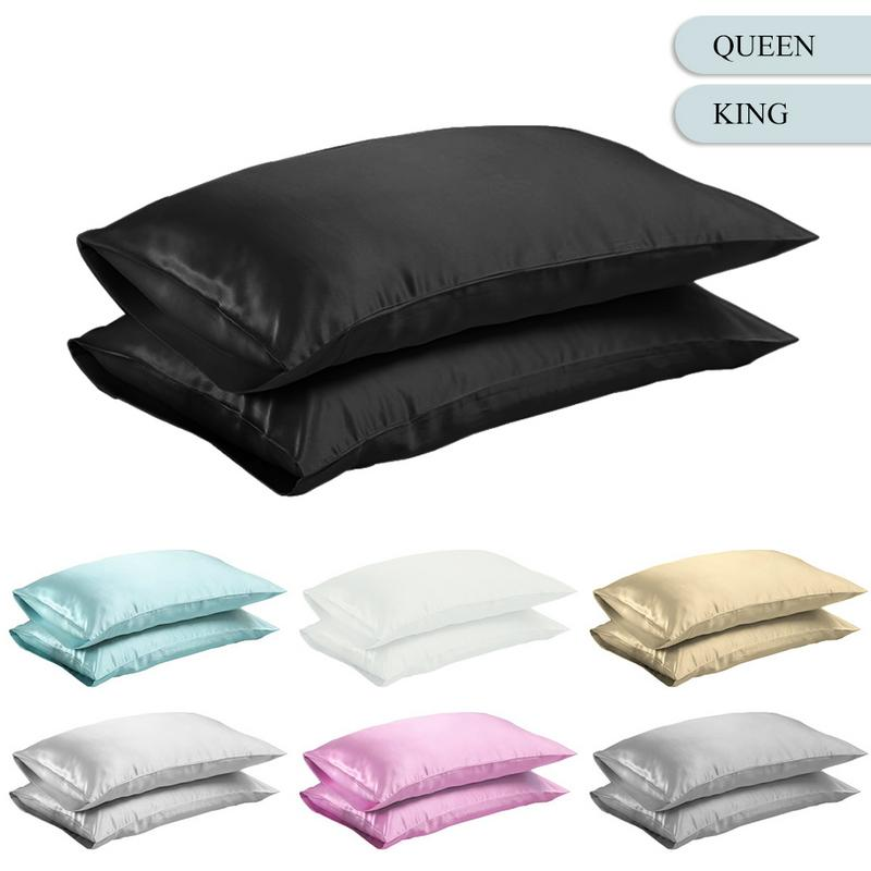 Queen/KING Silk Satin Pillow Case Bedding Pillowcase Smooth Home White Black Grey Khaki Sky Blue Pink Sliver