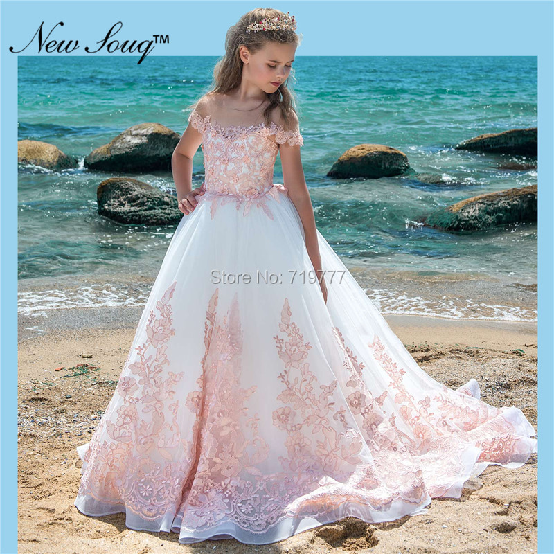 New Kids Pageant Evening Gowns Pink Applique   Flower     Girl     Dresses   For Weddings White First Communion   Dresses   For   Girls   2019