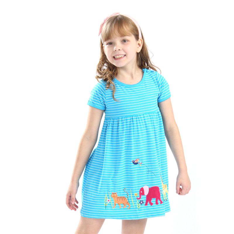 Animals Girls Dresses Cotton Children Clothes Summer Stripe New 2019 Fashion Baby Dresses For 2-7T Girls Wear Party Tutu Dresses 1