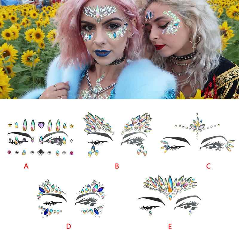 Detail Feedback Questions about Face Diamond Sticker Eco Friendly Resin  Crystal Rhinestone Face Sticker Holiday Party Dance Eyebrows Face Adhesive  5 Styles ... ab382f350d28