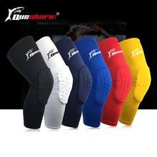 57b8faa1cd 2 Pcs Long Basketball Kneepad Compression Anti-slip Leg Sleeve Volleyball  Knee Support Sports Honeycomb