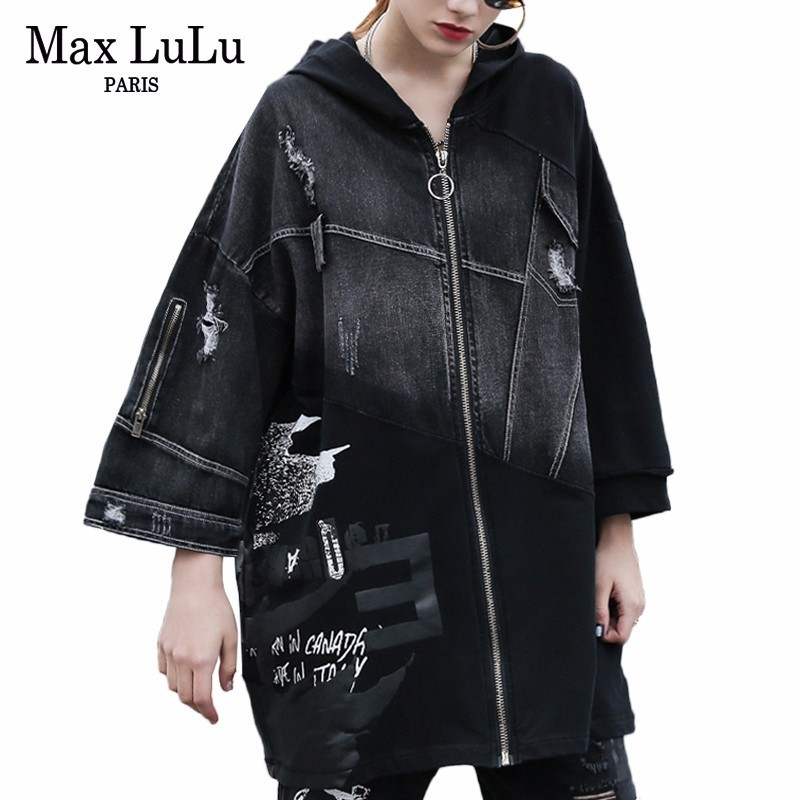 Max LuLu 2019 Spring Korean Fashion Ladies Vintage Windbreaker Womens Black Hooded Denim   Trench   Punk Streetwear Female Long Coat