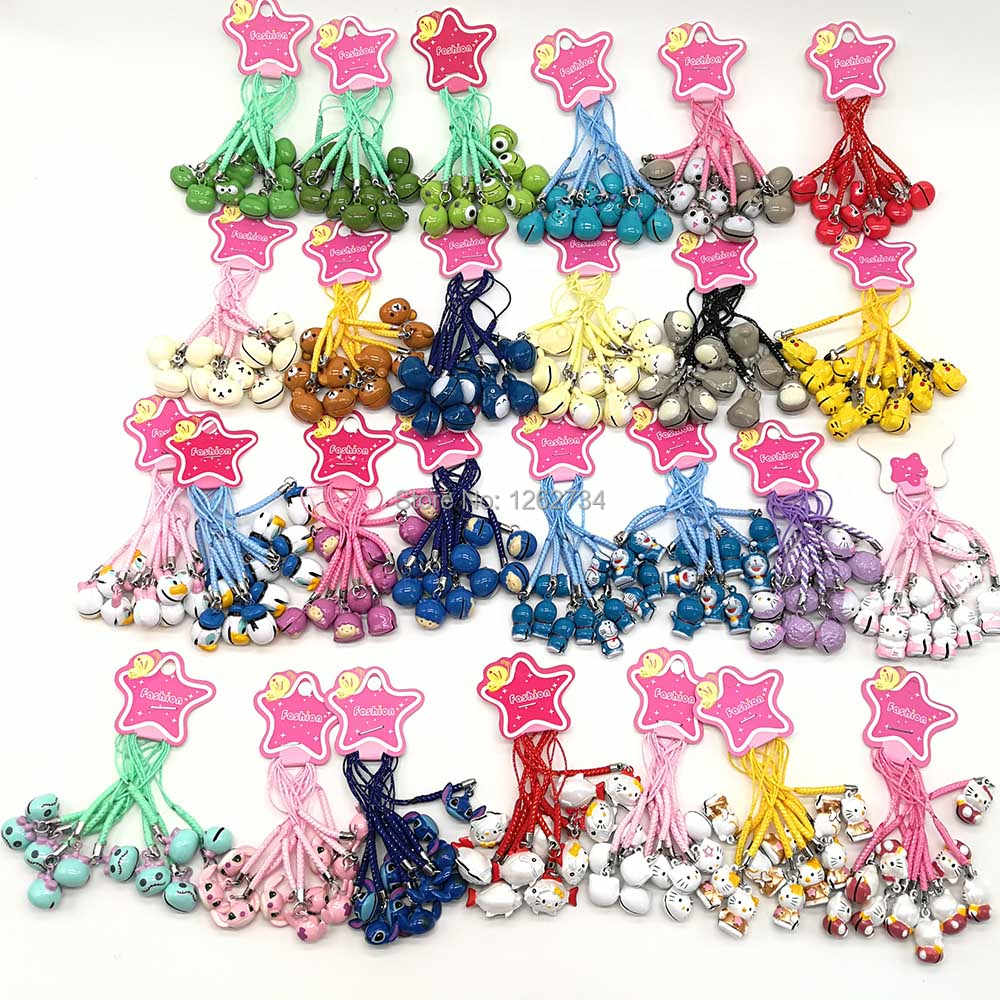 10Pcs Pikchu Doraemon Stich Scrump Jack Mickey Minnie Totoro Donald Ente Marie Figuren Handy Gurt JINGLE Glocken TYNN