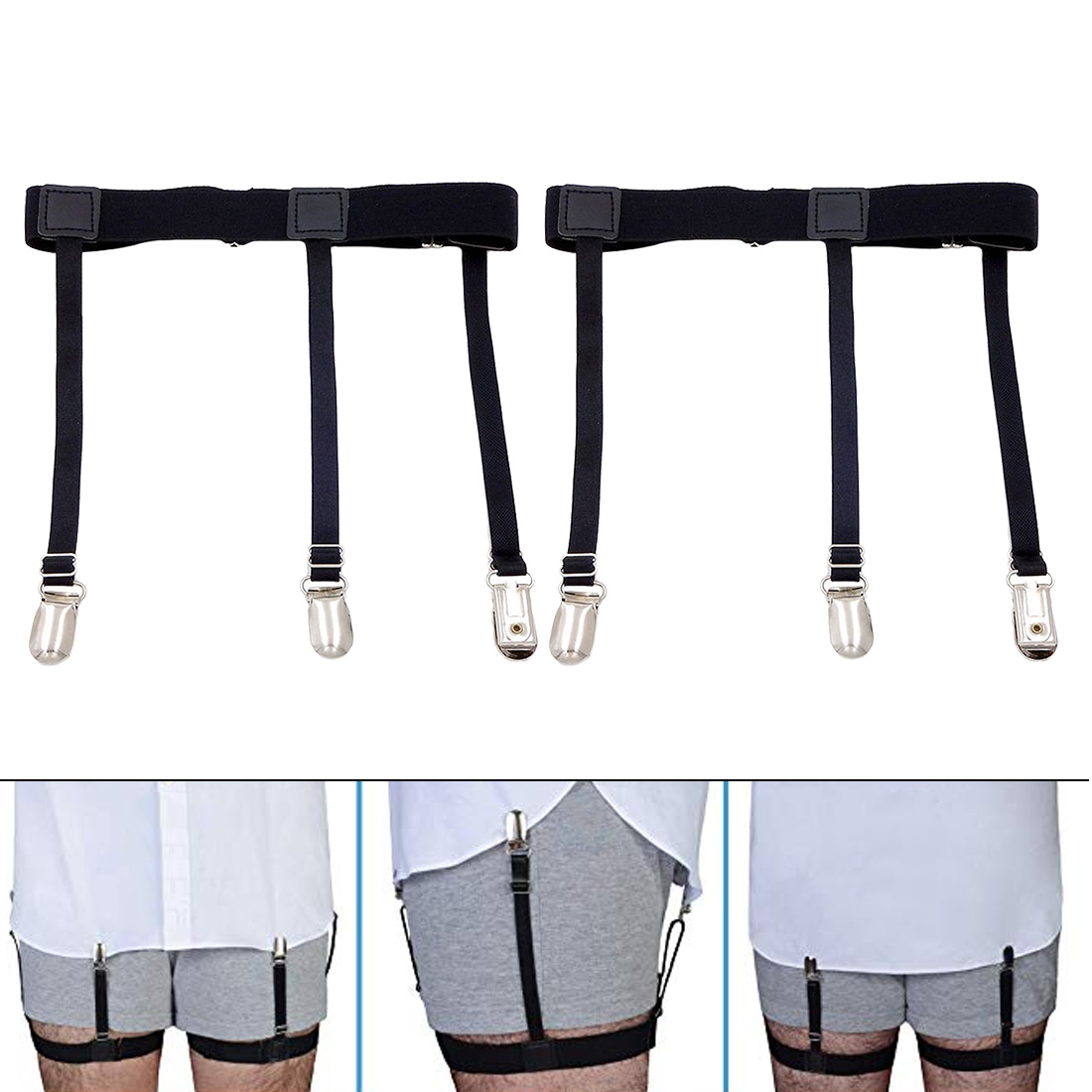 2 Pcs Men Shirt Stays   Belt   with Non-slip Locking Clips Keep Shirt Tucked Leg Thigh Suspender Garters Strap