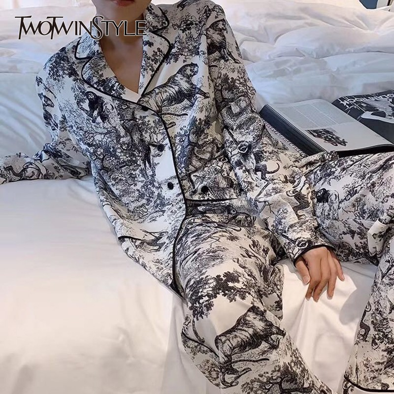 TWOTWINSTYLE Print Women Suit Lapel Long Sleeve Loose Shirt High Waist Big Size Pants Two Piece Set Female 2019 Fashion Spring