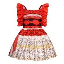 AmzBarley Moana Costume for girls Party Dress Up Strappy Backless Slip Dresses Kids Princess Cosplay Costumes summer clothing