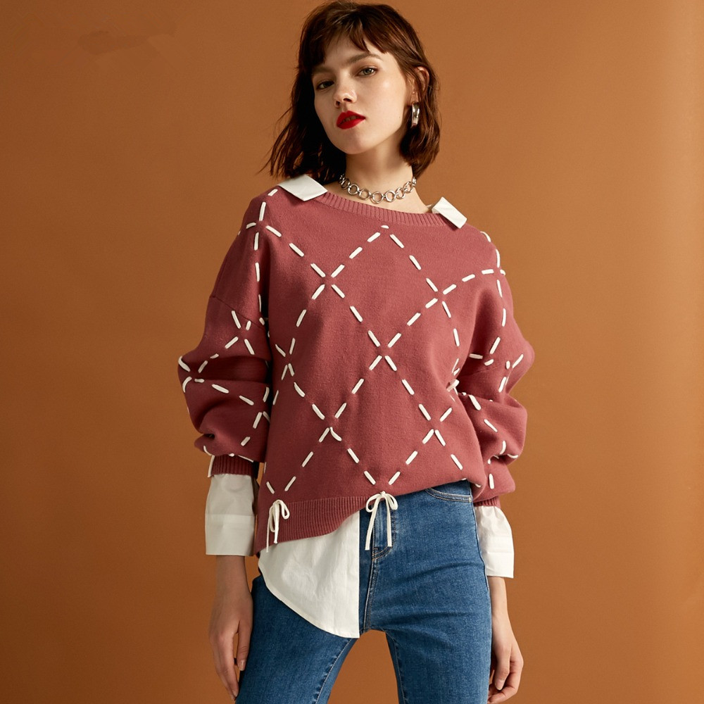 Sexy And Refined Womens Winter Youth New Elegant Loose Rope Lace Knit Sweater Trendy Diamond Lattice Tie-up Classic Design Show 15