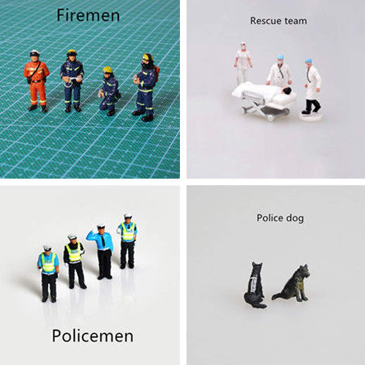 4Pcs/set Race Medal 1:64 Mini Policemen Firemen Rescue Team Dog Figure Model Set For Children Toy Group