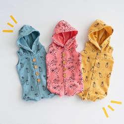 Для новорожденных для маленьких девочек мальчиков мягкий капюшоном длинный комбинезон шляпе печатных Babygrows наряды