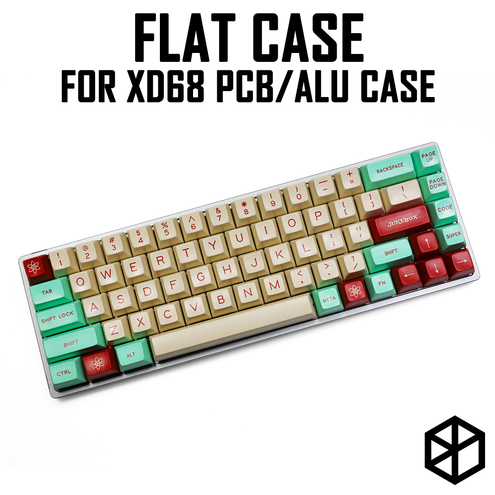 Anodized Aluminium Flat Case With Metal Feet For Custom Mechanical Keyboard Black Siver Grey Red Blue Colorway For Xd68 65%