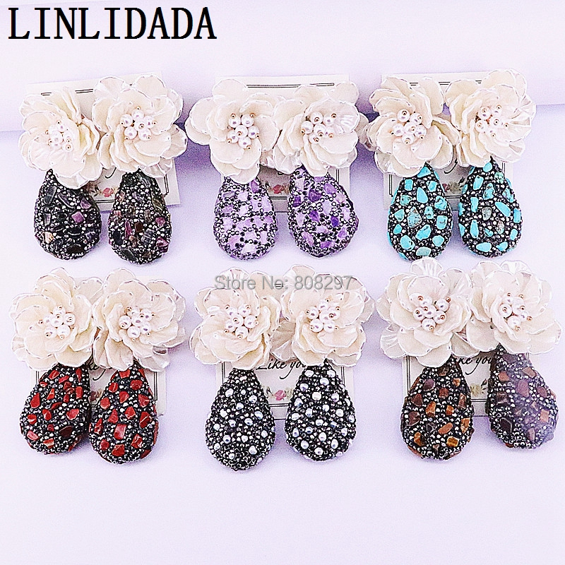 New Trendy 5Pairs Charm Pave Rhinestone Nature Stone Water Drop Shape Dangle Earrings For Women Party Jewelry-in Drop Earrings from Jewelry & Accessories on AliExpress - 11.11_Double 11_Singles' Day 1