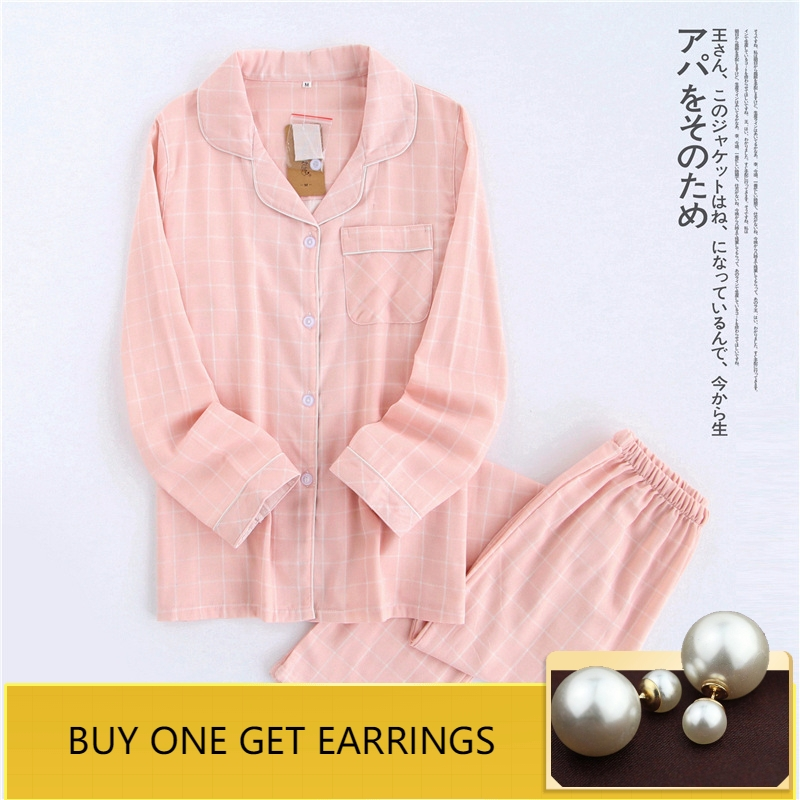 home suit Cotton Plaid Couple   Pajama     Sets   Pink Women Sleepwear Autumn Spring Women   Pajamas   Female Suit Long Sleeve Pyjamas Women