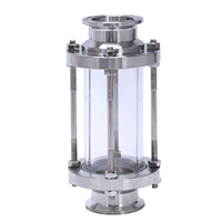 New Glass Tube Mirror In Line Sight Glass with Clamp End Flow Sanitary Straight Sight Glass Three Clamp Type