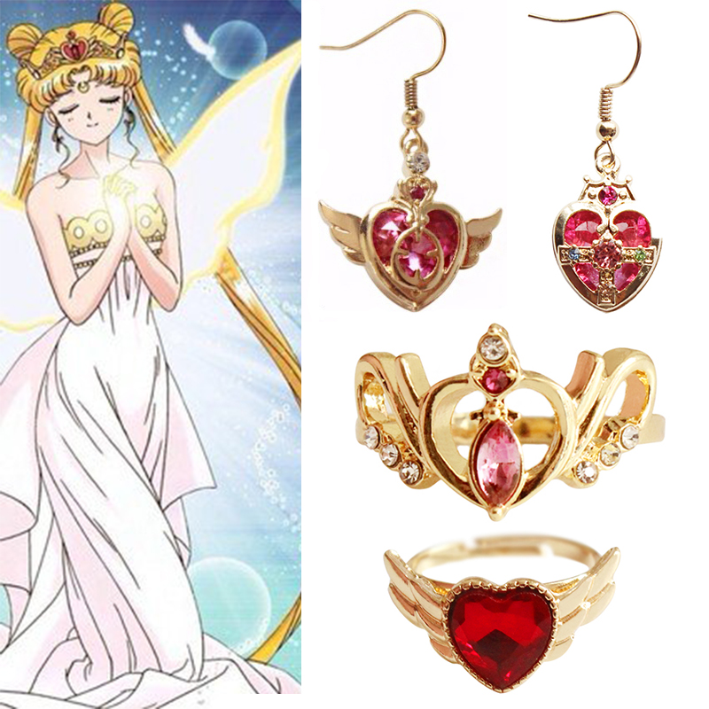 Anime Sailor Moon Loving Wand Crystal cosplay Ring earringGirl accessories Cute props