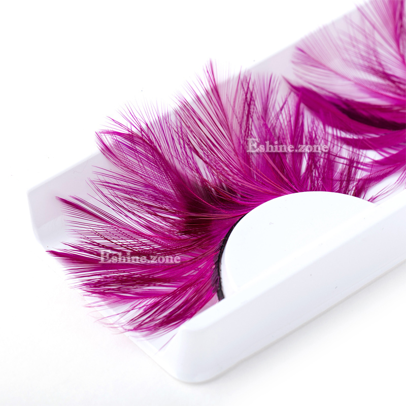 ICYCHEER Rose Red Womens Feather False Eyelashes Plume Natural Fake Carnival Eye Lashes