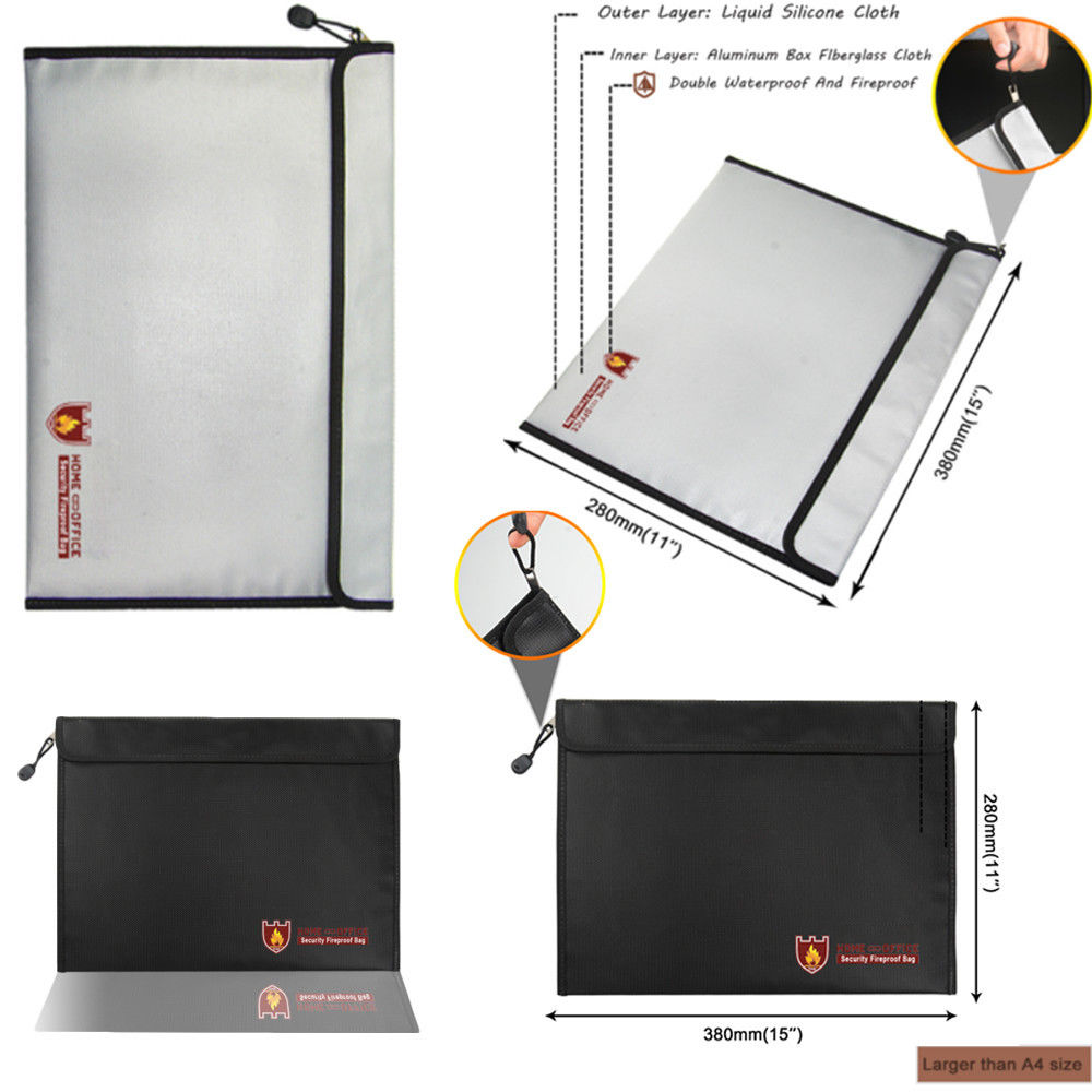 Men's Briefcase A4 Size Silicone Fiberglass Fabric Zipper Fireproof Paper Folder File Bag
