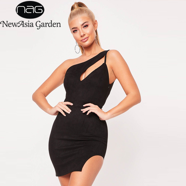 0d0cceec4f US $11.5 45% OFF|NewAsia Sexy One Shoulder Cut Out Party Dress Hollow Out  Mini Bodycon Sheath Dress Sleeveless Irregular Hem Short Dress Vestidos-in  ...