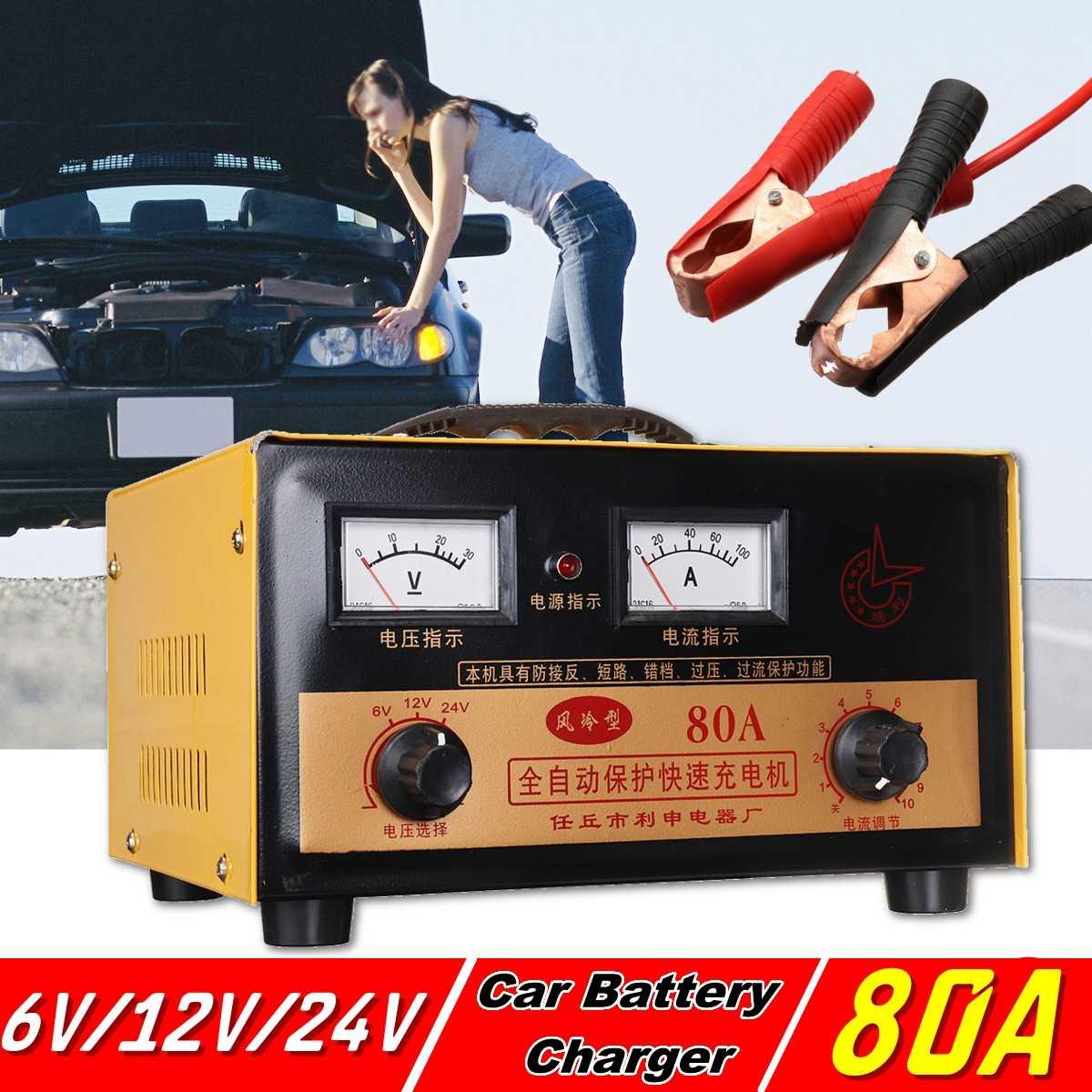 Chargeur de batterie de voiture 6 V 12 V 24 V complètement automatique chargeur de batterie de voiture électrique impulsions intelligentes Type de réparation 60A/80A pour voiture