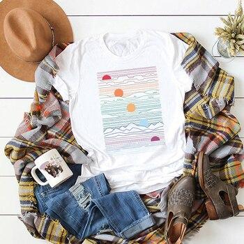 Plus Size Harajuku Summer Funny t shirt women Oversized Sunrise Print Short Sleeve Cotton Basic Casual Tee Tops ropa mujer 2019
