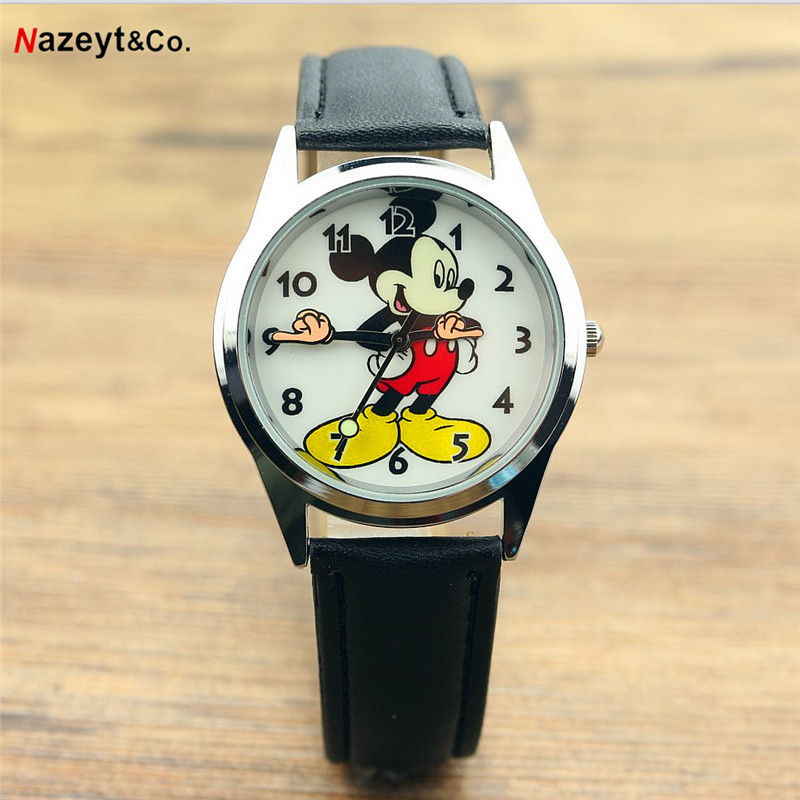 Relogio Feminino Children Watches Fashion Casual Cartoon Girl Boy Students Watch Lovely Mouse Women Leather Quartz Wrist Watches