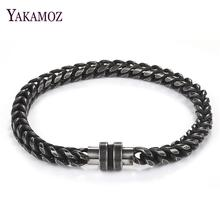 Stainless Steel Chain Bracelet Men Punk Jewelry Magnetic Clasps Bangle Christmas Gift Fashion Male Hand Accessory Wholesale 22cm b17e chian length 22cm men chain lobster bracelet 1 piece stainless steel fsahionable gold factory price bangle men gift
