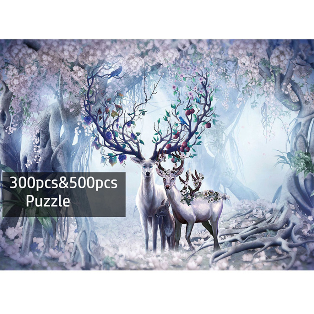 Adult 300 <font><b>500</b></font> <font><b>pieces</b></font> <font><b>Jigsaw</b></font> Deer Cartoon Wooden <font><b>Puzzle</b></font> for Children <font><b>500</b></font> <font><b>Piece</b></font> Educational Toy Christmas Gift <font><b>puzzles</b></font> image