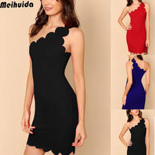 New Women Fashion Casual Bodycon One Shoulder Dress Ladies Party Mini Dress Size 6 To 14 UK(China)
