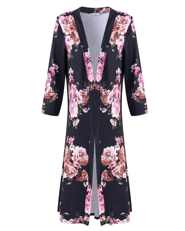 Thin Cardigan Coats Women Summer Chiffon Floral Print Kimono Long Trench 3/4 Sleeve Cardigan Female Casual Loose Sunscreen Tops